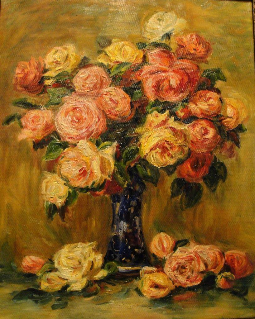 Розы в вазе, Ренуар (копия), 40*50 см