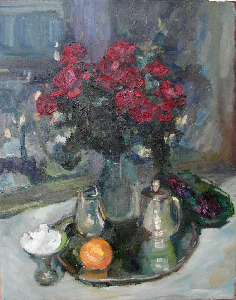 Розы и фиалки, Коровин (копия), 40*50 см, в наличии