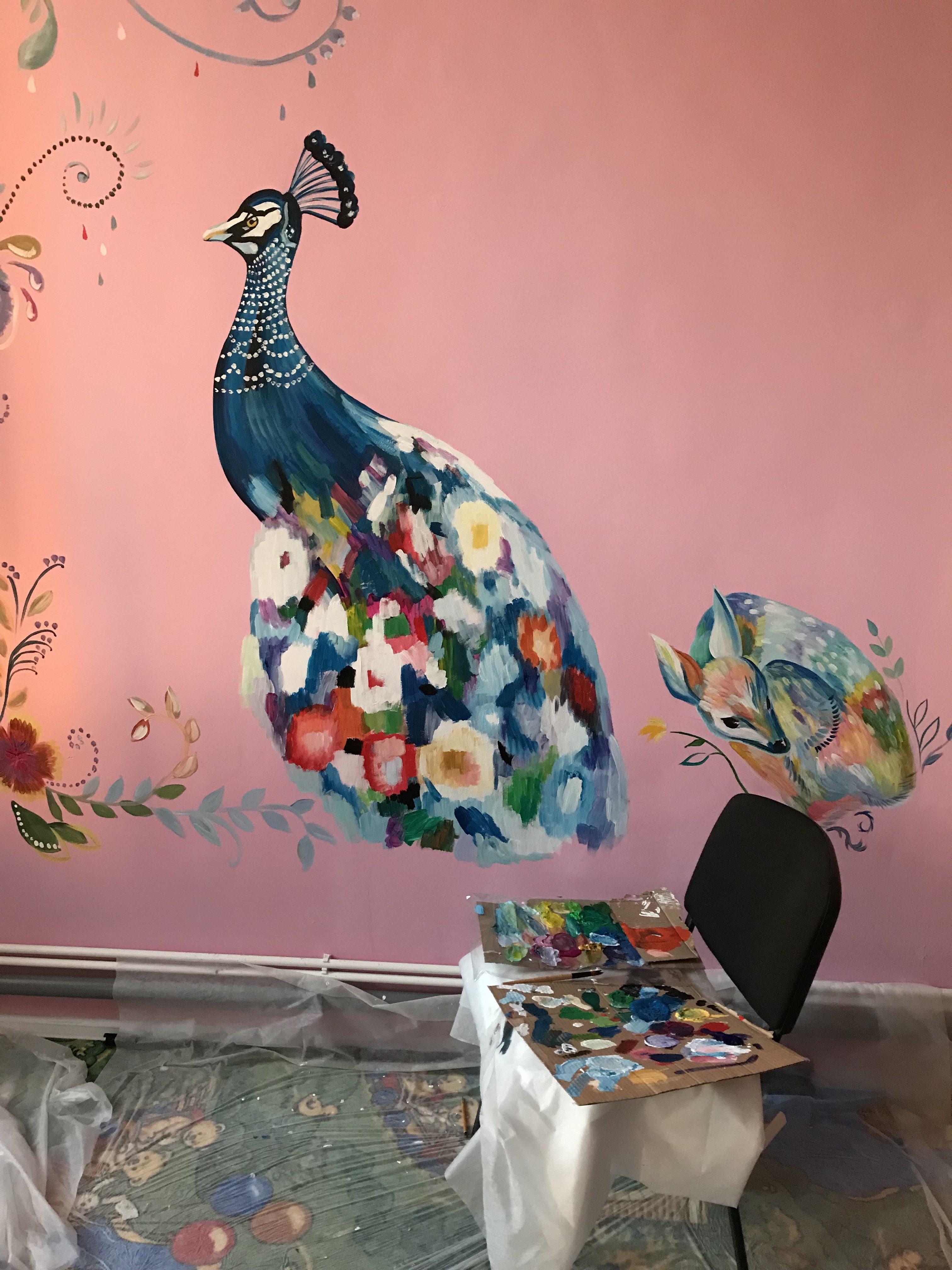 Роспись стен музыкальная комната